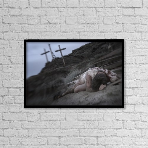 "Printscapes Wall Art: 18"" x 12"" Canvas Print With Black Frame - Jesus And The Crucifixion by Darren Greenwood"
