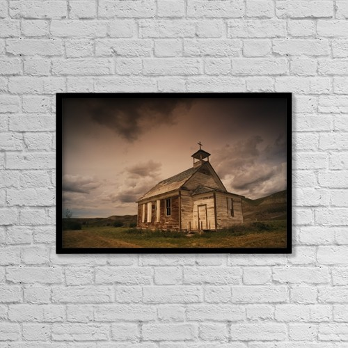"Printscapes Wall Art: 18"" x 12"" Canvas Print With Black Frame - A Simple Wooden Church by Kelly Redinger"