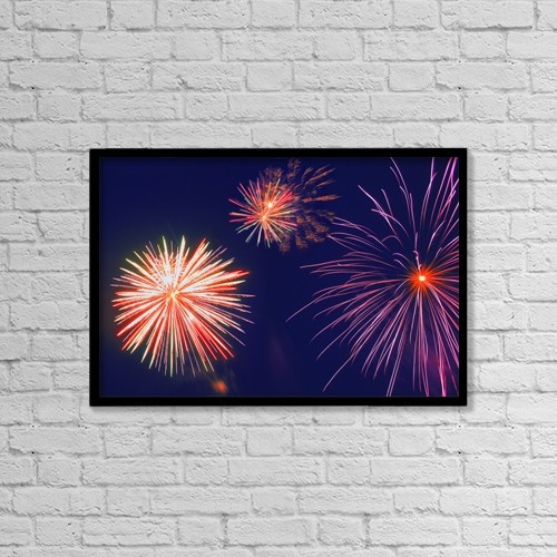 "Printscapes Wall Art: 18"" x 12"" Canvas Print With Black Frame - Fireworks In The Night Sky by Carson Ganci"