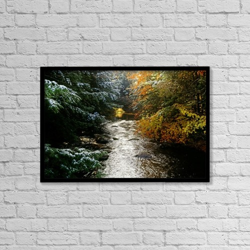 "Printscapes Wall Art: 18"" x 12"" Canvas Print With Black Frame - Forest With Creek Running Through It by David Chapman"