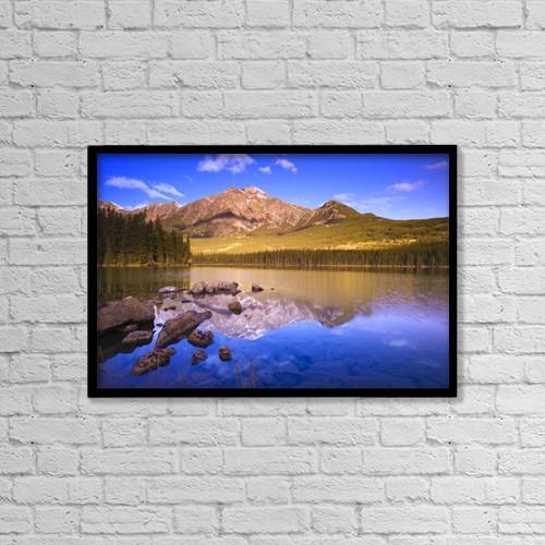 "Printscapes Wall Art: 18"" x 12"" Canvas Print With Black Frame - Pyramid Lake, Jasper National Park by Carson Ganci"