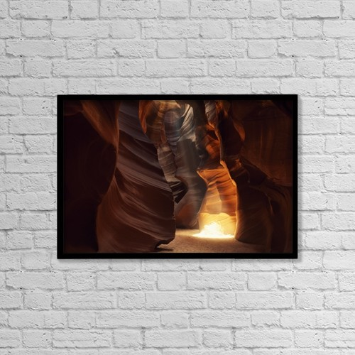 "Printscapes Wall Art: 18"" x 12"" Canvas Print With Black Frame - Sunbeam In Antelope Canyon by Natural Selection Jeff Friesen"