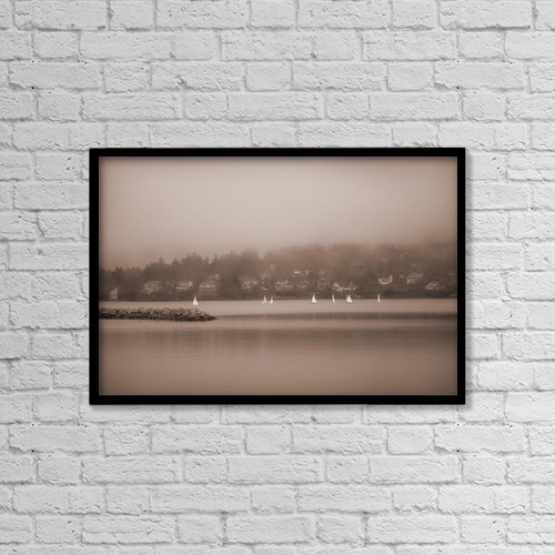 """Printscapes Wall Art: 18"""" x 12"""" Canvas Print With Black Frame - Sailboats In Victoria, British Columbia by Misty Bedwell"""