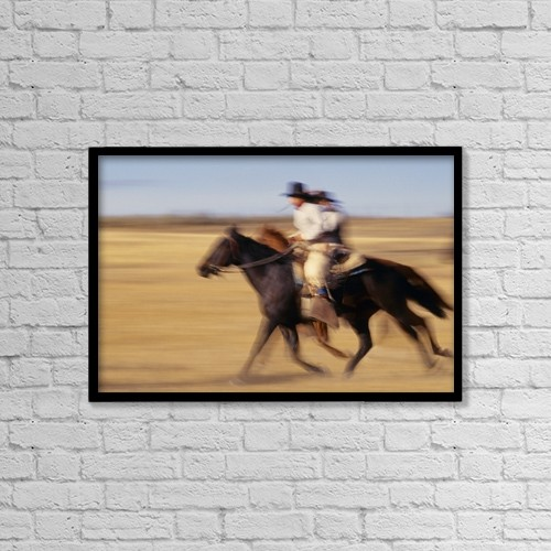 "Printscapes Wall Art: 18"" x 12"" Canvas Print With Black Frame - Cowboys Racing Horses by Natural Selection Craig Tuttle"