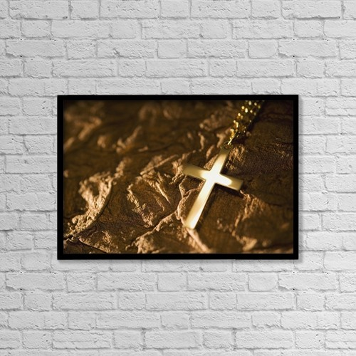"""Printscapes Wall Art: 18"""" x 12"""" Canvas Print With Black Frame - Cross On Textured Background by Kelly Redinger"""