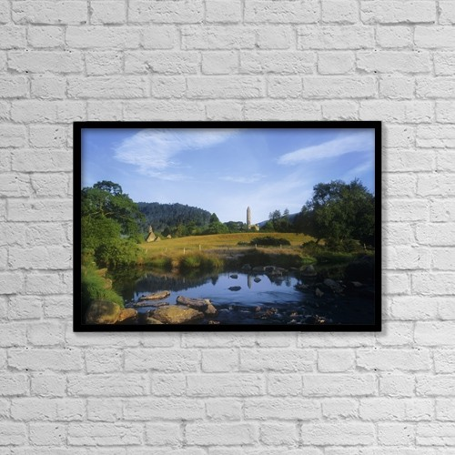 """Printscapes Wall Art: 18"""" x 12"""" Canvas Print With Black Frame - Round Tower In The Forest by The Irish Image Collection"""