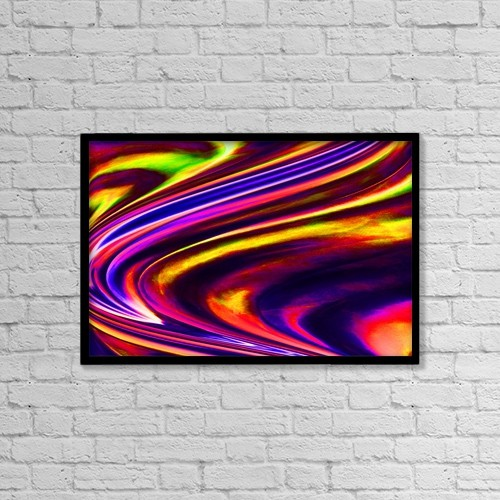 """Printscapes Wall Art: 18"""" x 12"""" Canvas Print With Black Frame - Multicolored Abstract by Chris and Kate Knorr"""