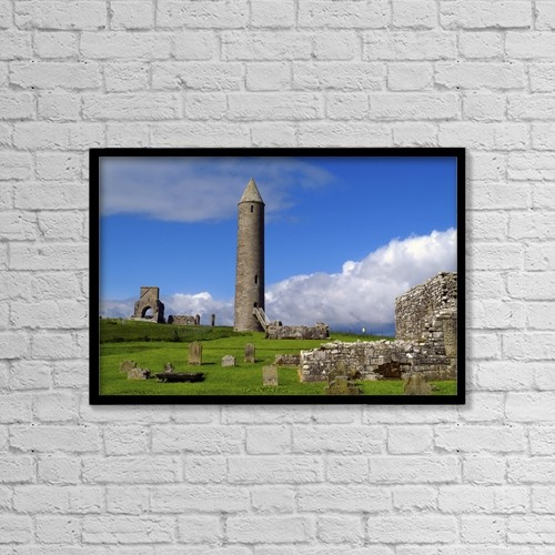 "Printscapes Wall Art: 18"" x 12"" Canvas Print With Black Frame - Devenish Monastic Site, Co by The Irish Image Collection"
