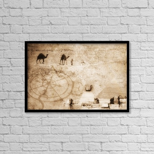 """Printscapes Wall Art: 18"""" x 12"""" Canvas Print With Black Frame - Egyptian Collage by Chris and Kate Knorr"""