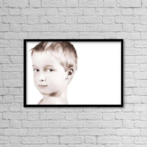 "Printscapes Wall Art: 18"" x 12"" Canvas Print With Black Frame - Young Boy by Chris and Kate Knorr"