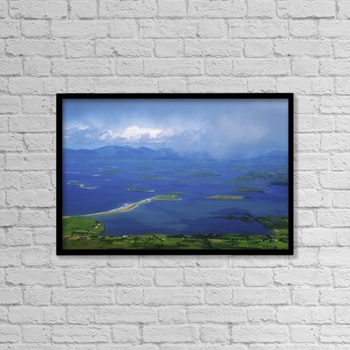 "Printscapes Wall Art: 18"" x 12"" Canvas Print With Black Frame - Clew Bay, Co Mayo, Ireland by The Irish Image Collection"