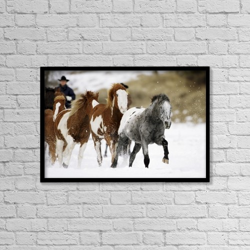 """Printscapes Wall Art: 18"""" x 12"""" Canvas Print With Black Frame - Running Horses by Richard Wear"""