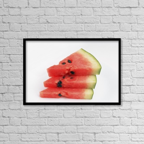 """Printscapes Wall Art: 18"""" x 12"""" Canvas Print With Black Frame - Three Pieces Of Watermelon by Ron Nickel"""