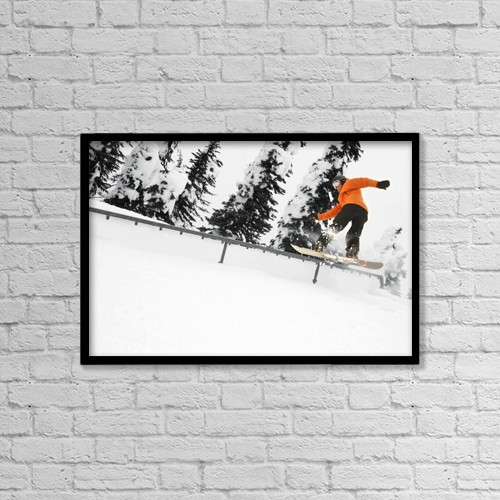 "Printscapes Wall Art: 18"" x 12"" Canvas Print With Black Frame - Person Snowboarding On A Railing by Leah Hammond"