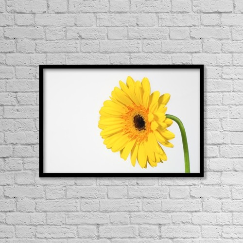 """Printscapes Wall Art: 18"""" x 12"""" Canvas Print With Black Frame - Yellow Gerbera by Leah Hammond"""
