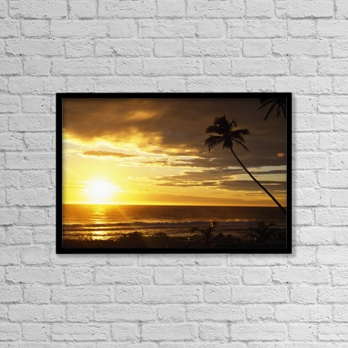 """Printscapes Wall Art: 18"""" x 12"""" Canvas Print With Black Frame - Sunrise With Palm Trees by Natural Selection Craig Tuttle"""