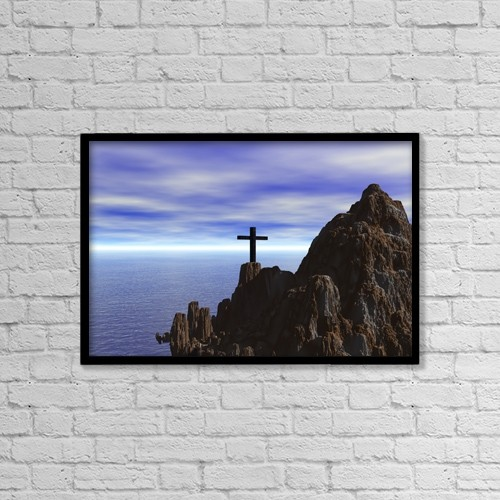 "Printscapes Wall Art: 18"" x 12"" Canvas Print With Black Frame - Cross On A Rugged Hillside by Paul Sale"