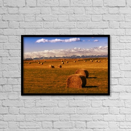 """Printscapes Wall Art: 18"""" x 12"""" Canvas Print With Black Frame - Hay Bales by Don Hammond"""