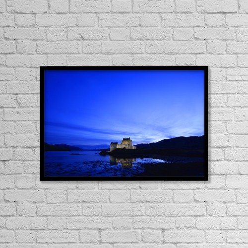"Printscapes Wall Art: 18"" x 12"" Canvas Print With Black Frame - Castle In Scotland by Don Hammond"