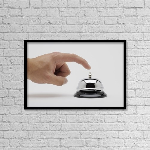 "Printscapes Wall Art: 18"" x 12"" Canvas Print With Black Frame - Man About To Ring A Bell by Kelly Redinger"