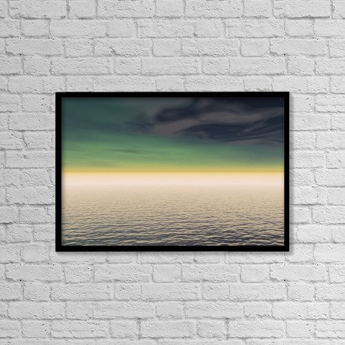 """Printscapes Wall Art: 18"""" x 12"""" Canvas Print With Black Frame - Expanse Of Water And Sky by Paul Sale"""