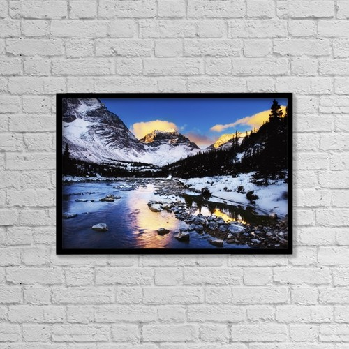 "Printscapes Wall Art: 18"" x 12"" Canvas Print With Black Frame - Mountains In The Winter by Chris and Kate Knorr"