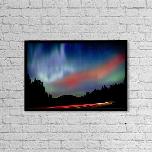 "Printscapes Wall Art: 18"" x 12"" Canvas Print With Black Frame - Northern Lights by Richard Wear"
