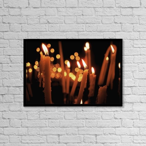 "Printscapes Wall Art: 18"" x 12"" Canvas Print With Black Frame - Church Candles by The Irish Image Collection"