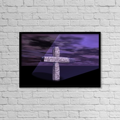 "Printscapes Wall Art: 18"" x 12"" Canvas Print With Black Frame - Computer Generated Cross by Paul Sale"