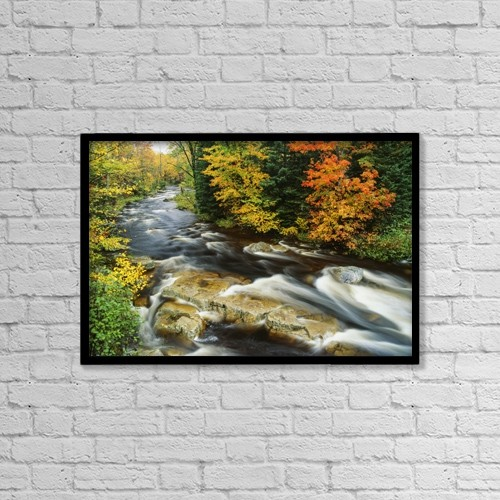 "Printscapes Wall Art: 18"" x 12"" Canvas Print With Black Frame - Stream Flowing Through Forest In Vermont, Usa by Bilderbuch"