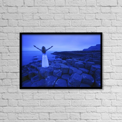 """Printscapes Wall Art: 18"""" x 12"""" Canvas Print With Black Frame - Woman With Arms Raised by Don Hammond"""