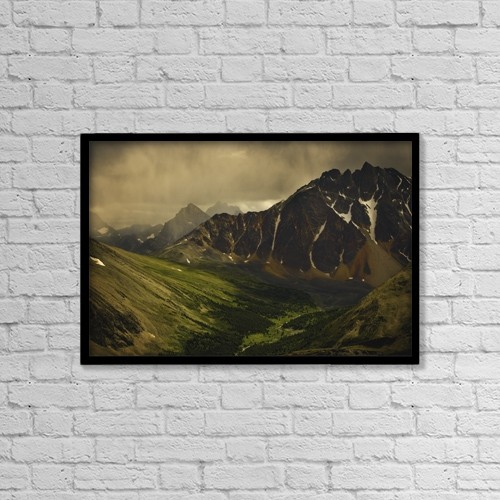 "Printscapes Wall Art: 18"" x 12"" Canvas Print With Black Frame - Storm Clouds In Valley by Darren Greenwood"