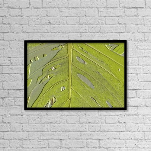 "Printscapes Wall Art: 18"" x 12"" Canvas Print With Black Frame - Leaf Texture Background by Paul Sale"