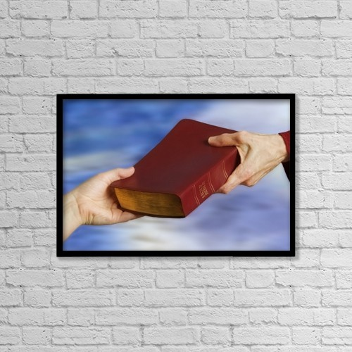 "Printscapes Wall Art: 18"" x 12"" Canvas Print With Black Frame - Passing A Bible by Steve Nagy"
