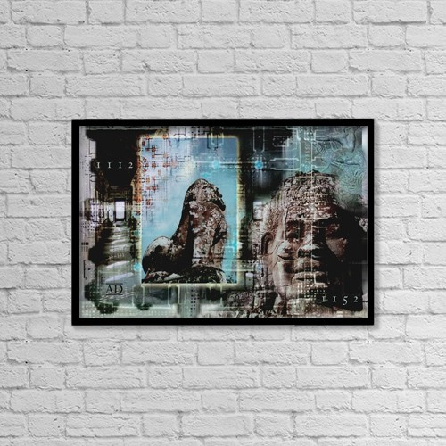 """Printscapes Wall Art: 18"""" x 12"""" Canvas Print With Black Frame - Statues Composite by Design Pics Eye Traveller"""