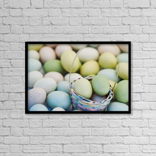 "Printscapes Wall Art: 18"" x 12"" Canvas Print With Black Frame - Easter Eggs And Basket by Darren Greenwood"