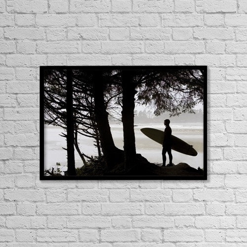 "Printscapes Wall Art: 18"" x 12"" Canvas Print With Black Frame - Silhouette Of A Surfer Looking Out To The Water by Deddeda"