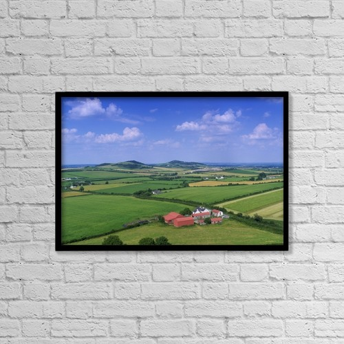 "Printscapes Wall Art: 18"" x 12"" Canvas Print With Black Frame - Farm Structures by The Irish Image Collection"