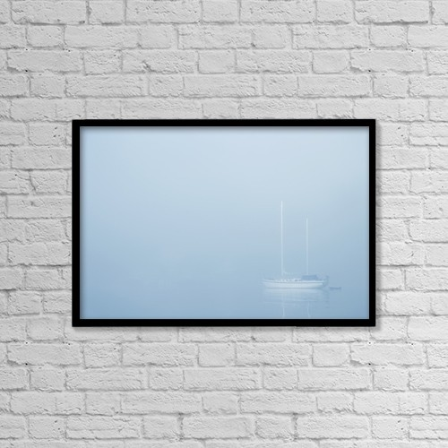 "Printscapes Wall Art: 18"" x 12"" Canvas Print With Black Frame - Sailboat In A Fog by Don Hammond"