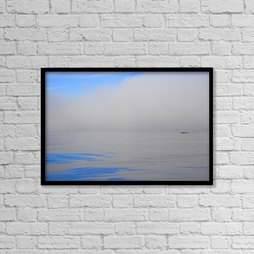 "Printscapes Wall Art: 18"" x 12"" Canvas Print With Black Frame - Fishing Boat Out On Water by Don Hammond"