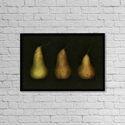 "Printscapes Wall Art: 18"" x 12"" Canvas Print With Black Frame - Three Golden Pears by Deddeda"