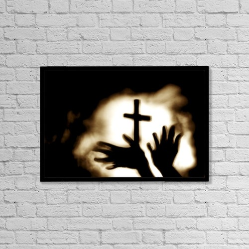 "Printscapes Wall Art: 18"" x 12"" Canvas Print With Black Frame - Hands And Cross by Nathan Lau"