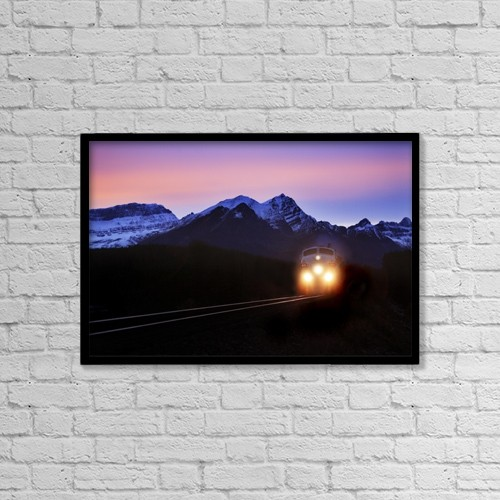 "Printscapes Wall Art: 18"" x 12"" Canvas Print With Black Frame - Locomotive Train At Night by Richard Wear"