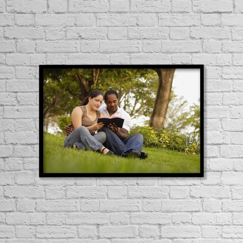 """Printscapes Wall Art: 18"""" x 12"""" Canvas Print With Black Frame - Couple Reading The Bible by Don Hammond"""