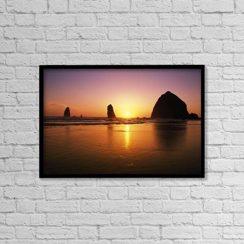 "Printscapes Wall Art: 18"" x 12"" Canvas Print With Black Frame - Sunset At Cannon Beach by Natural Selection Craig Tuttle"