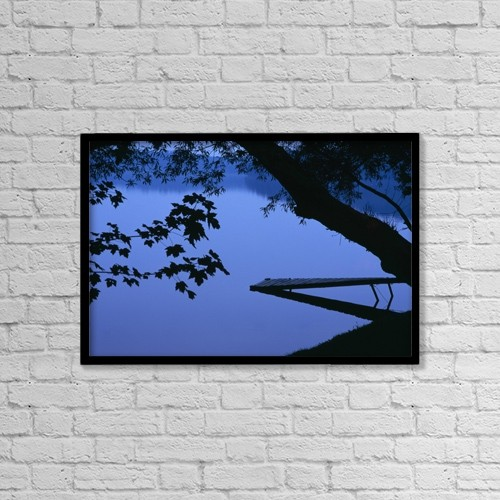 "Printscapes Wall Art: 18"" x 12"" Canvas Print With Black Frame - Lake And Trees At Dusk by Natural Selection David Chapman"