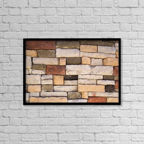 "Printscapes Wall Art: 18"" x 12"" Canvas Print With Black Frame - Brick Wall by Steven Raniszewski"