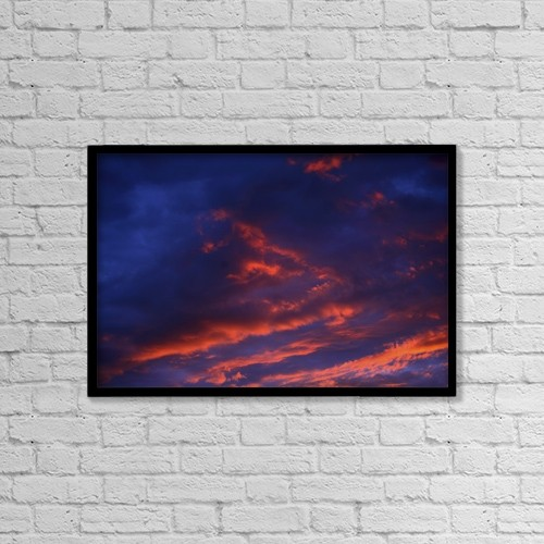 "Printscapes Wall Art: 18"" x 12"" Canvas Print With Black Frame - Sunset In The Clouds by Richard Wear"