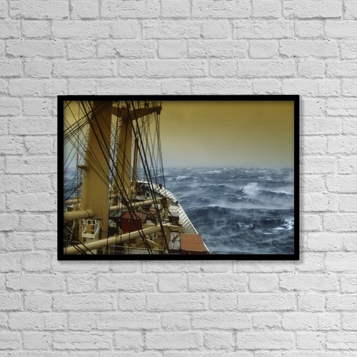 """Printscapes Wall Art: 18"""" x 12"""" Canvas Print With Black Frame - Shipping, Freight In Storm by The Irish Image Collection"""