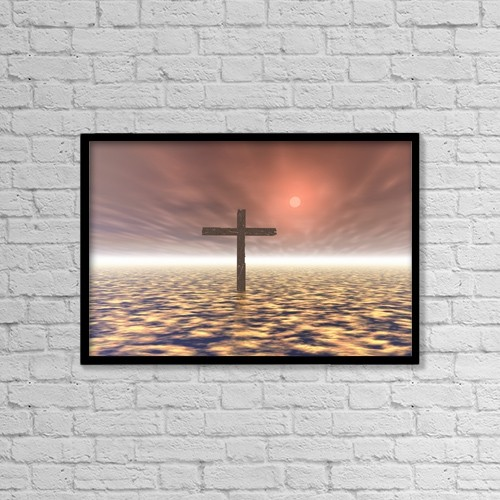 "Printscapes Wall Art: 18"" x 12"" Canvas Print With Black Frame - The Mystery Of The Cross by Paul Sale"